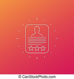 Customer review, feedback vector line icon, eps 10 file, ...