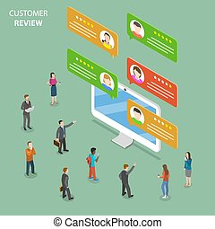 Customer review flat isometric vector concept.