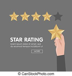 Customer review give a five star. Positive feedback concept. Vector illustration