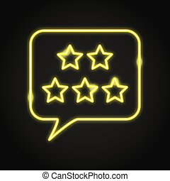 Customer review icon in neon line style. User feedback ...