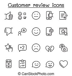 Customer review icons set in thin line style