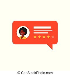 Customer review symbol with rating stars flat vector illustration isolated.