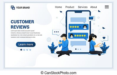 Customer reviews concept with characters. Positive feedback, satisfaction and evaluation for product or services. Modern flat landing page template design for website. Vector illustration