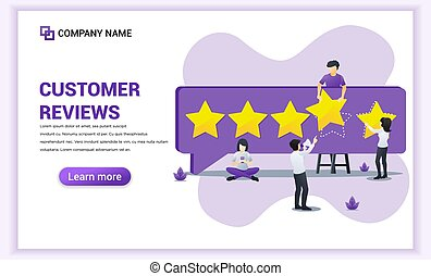 Customer reviews concept with people giving five stars rating, positive feedback, satisfaction and evaluation for product or services. Can use for web banner, landing page. Vector illustration