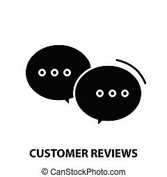 customer reviews icon, black vector sign with editable strokes, concept illustration