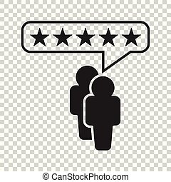 Customer reviews, rating, user feedback concept vector icon. Flat illustration on isolated background.