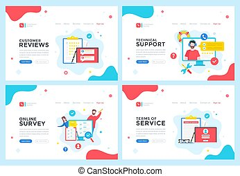 Customer reviews, technical support, online survey, terms of service concepts. Modern web page, website design templates set. Vector illustration