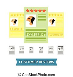 Customer reviews vector concept in flat style