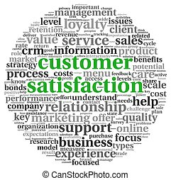Customer satisfaction concept in word tag clound on white