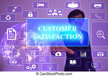 CUSTOMER SATISFACTION  concept  presented by  businessman touching on  virtual  screen ,image element furnished by NASA