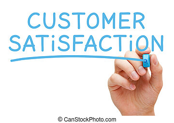 Hand writing Customer Satisfaction with blue marker on transparent glass board.