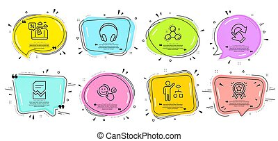 Customer satisfaction, Loyalty award and Corrupted file icons set. Vector