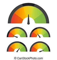 Customer satisfaction meter speedometer set. Vector...