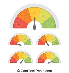 Customer satisfaction meter with different emotions. Vector illustration
