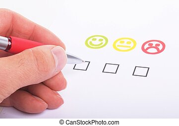customer satisfaction questionnaire showing marketing or...