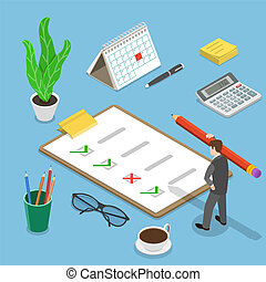 Customer satisfaction review isometric flat vector concept.