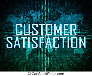 Customer Satisfaction text concept on green digital world ...