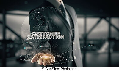 Customer Satisfaction with hologram businessman concept