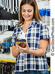 Customer Scanning Product's Barcode On Mobilephone