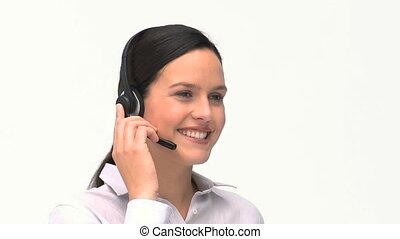 Customer service and support woman talking on the phone