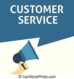 CUSTOMER SERVICE Announcement. Hand Holding Megaphone With Speech Bubble
