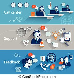 Customer Service Banners - Customer service banners set with...