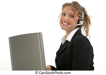 Customer Service - Beautiful 16 year old teen in suit at...