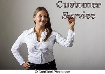Customer Service - Beautiful girl writing on transparent surface