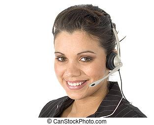 Customer Service - Beautiful young Hispanic customer service...