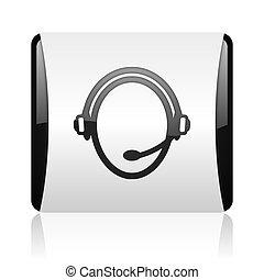 customer service black and white square web glossy icon