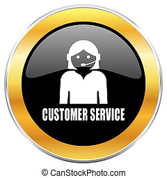 Customer service black web icon with golden border isolated on white background. Round glossy button.