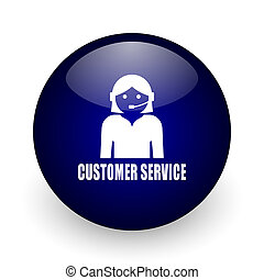 Customer service blue glossy ball web icon on white background. Round 3d render button.