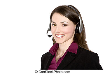 customer service - brunette woman wearing business outfit on...
