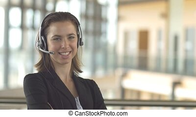 customer service call centre support receptionist business woman with headset