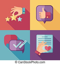 Customer service concept background in flat style. Customer...