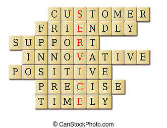 customer service concept in a juggle wooden cube tile.
