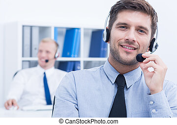 Customer service consultant wearing headset - Portrait of ...
