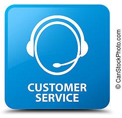 Customer service (customer care icon) cyan blue square...