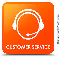 Customer service (customer care icon) orange square button