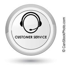 Customer service (customer care icon) prime white round button