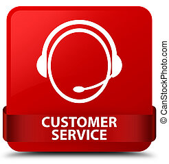 Customer service (customer care icon) red square button red ribbon in middle
