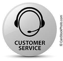 Customer service (customer care icon) white round button