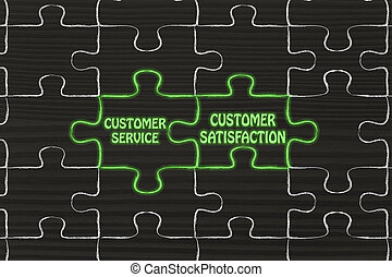 customer service & customer satisfaction, glowing jigsaw puzzle illustration