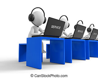 Customer service - Desk,computer , four businessmen working,...