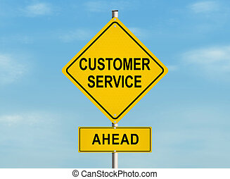 Customer service. Road sign on the sky background. Raster...