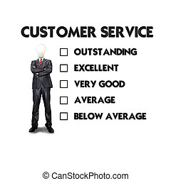 Customer service evaluation form with business man selecting the choice