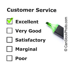 Customer service evaluation form with green tick on...