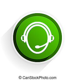 customer service flat icon with shadow on white background, green modern design web element