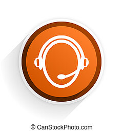customer service flat icon with shadow on white background, orange modern design web element