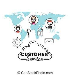 customer service flat icons